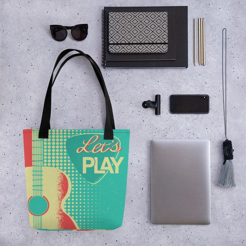 Let/'s Play with Guitar Pick Free shipping! Acoustic Guitar Tote Bag