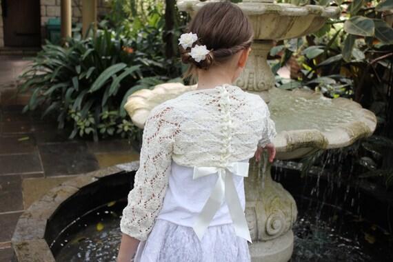 Girls Red Bolero Cardigan  Shrug Long Sleeve Wedding Flower Girl Christening