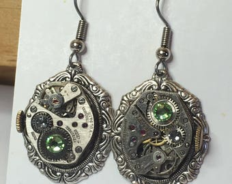 Glorious Green Small Vintage Watch Movement Earrings - Prong Set, Swarovski Crystal, Industrial, Retro, Steampunk, Gift for Her, Engineer