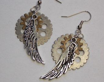 Ange Mecanique Earrings - Steampunk, Industrial, Wings