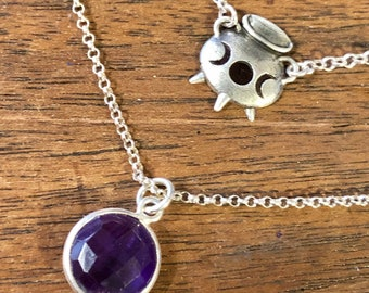 Sterling Silver Amethyst Moon Witch's Cauldron Necklace - Goth, Wicca, Halloween, Purple, Gothic, Macabre, Dark, Fairytale, Gift, Haunted
