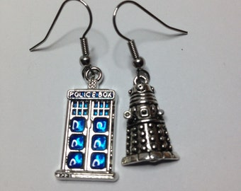 Gorgeous Geekery Whovian Happiness Earrings - Sci-Fi, Police Box, Science Fiction, Weeping Angel, Nerdy, Gift for Her, Pop Culture