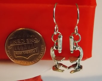 Gorgeous Geekery Sterling Silver Microscope Earrings - Laboratory, Chemistry, Biology, Science