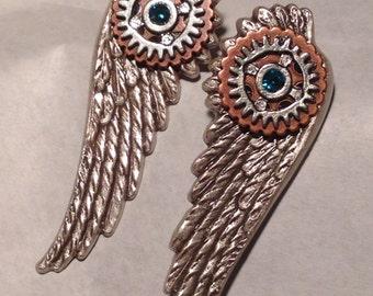 L'oiseau Mecanique Steampunk Earrings in Red Swarovski Crystal - Gift, Gothic, Industrial, Wings, Angel, Fairy