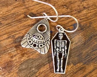 Sterling Silver Coffin & Planchette Earrings, Gothic, Skull, Halloween, Ouija, Macabre, Skeleton, Death, Goth, Punk, Samhain, Fantasy, Tarot