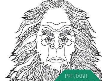 Sasquatch/Bigfoot Adult Coloring Page Digital Download | Etsy