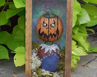 Pumpkin scarecrow shadow box sculpture