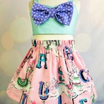 Girl Carousel 2 piece Outfit/Carnival Birthday Party/Baby 1st Birthday Dress/Carnival Theme Party/Carousel Horse/Pink Aqua Purple Carousel