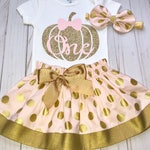 Pumpkin First Birthday Outfit, Cake Smash Outfit, Pink and Gold, Baby Girl 1st Birthday Outfit, Knot Bow Headband, Complete Onesie Skirt Set