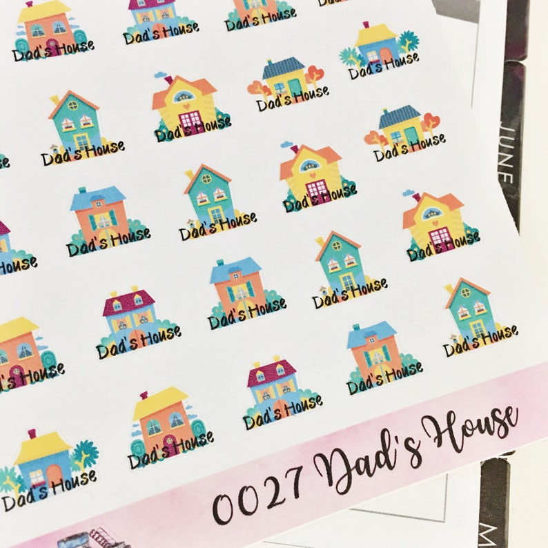 0027 Colorful Dad's House House Stickers Sheet image 0