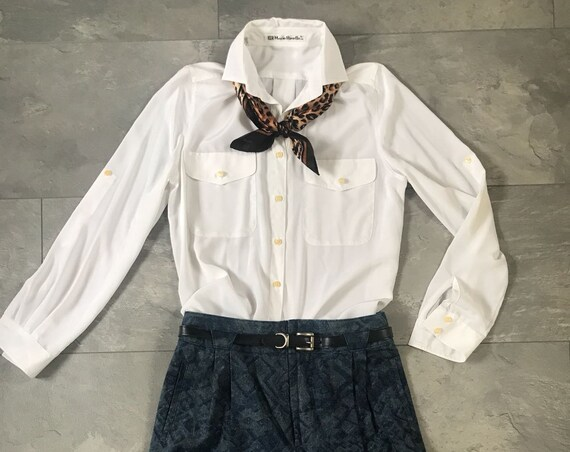 Vintage white blouse | Mario Rosella | shirtwaist | nineties top | shirt |
