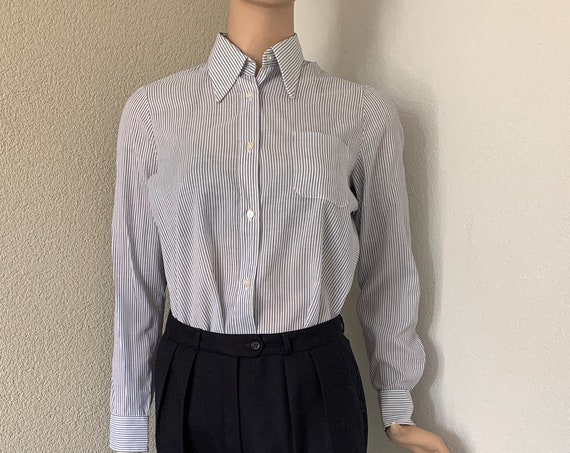 Vintage blouse | Mister Fish | International shirtmaker | striped blouse | pointed collar | tergal | small size