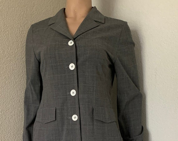 Vintage two piece  | Xandres | wrap skirt | jacket | colbert | co-ord set | nineties | vintage | wool | gray checkered | size S