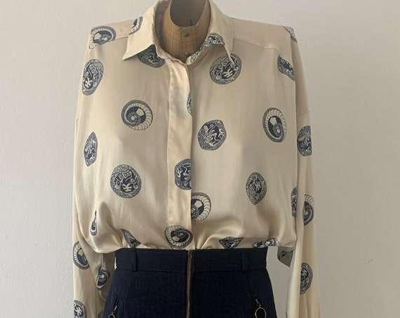 Vintage blouse | Escada | by Margaretha Ley | silk | oversized | top | oversized | size S M
