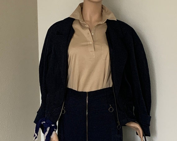 Original Canvas Limited | suit | dark blue | skirt and jacket | two piece set | nineties | vintage | crinkle fabric | size S / M