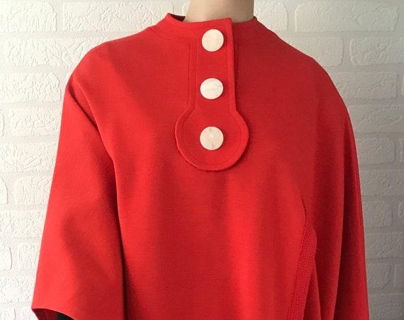 Vintage Les Jerseys de Pierre Cardin | Woolen cape | red cape | Sixties cape | Designer item | Sixties design | French design