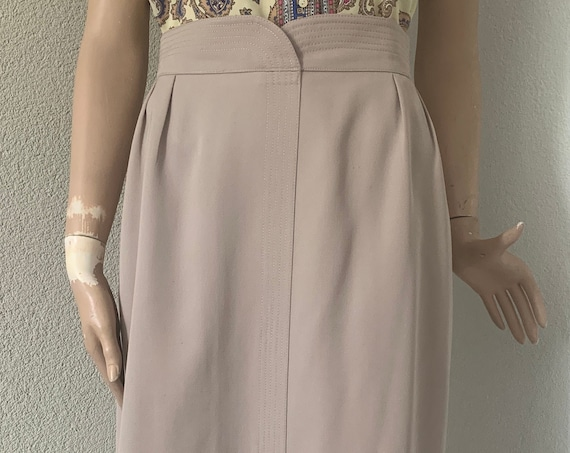 Vintage skirt | nineties | beige | highwaist | wool | small | EUR 36