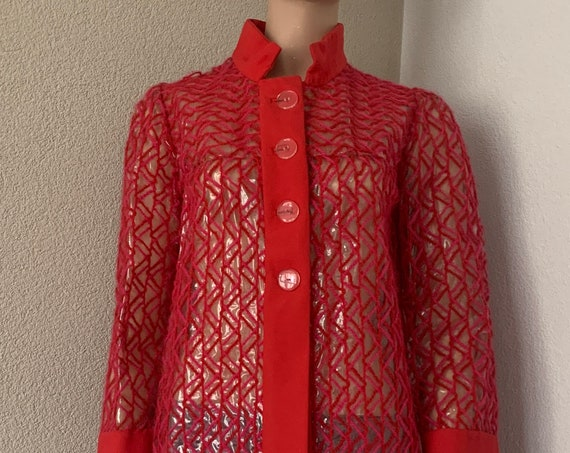 Handmade raincoat | pvc raincoat | red | transparant raincoat | vinyl | seventies coat | size S