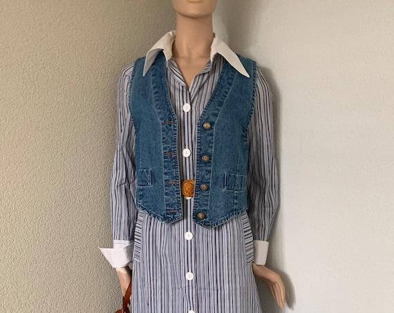 Vintage shirt dress   L'Espoir   striped   shirtdress   cotton   eighties   size EUR 38
