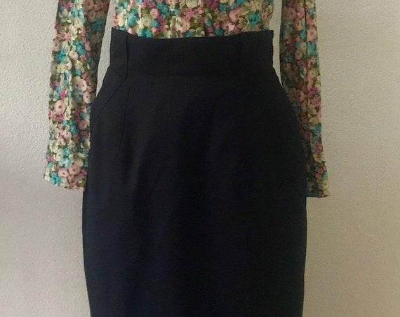 Vintage high waisted skirt | Joop! skirt | eighties skirt | blue | wool | designer|  | pencil skirt | high waist |