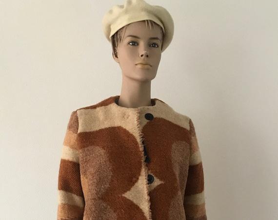 Handmade coat | blanket coat | jacket | blanketcoat | wool | sixties design | Dutch blanket | wintercoat | brown beige | size M