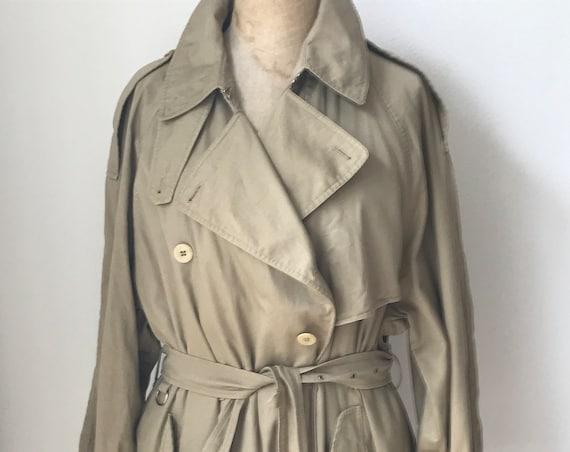 Vintage trench coat   Vintage rain coat   Allegri   by Armani   vintage designer coat    size M   beige   khaki