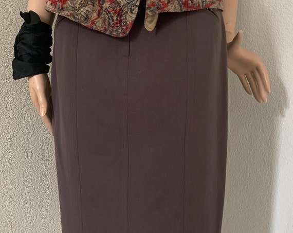 Vintage skirt | eighties skirt | Leeser | wool | khaki green skirt | designer vintage | size EUR 40 - Medium
