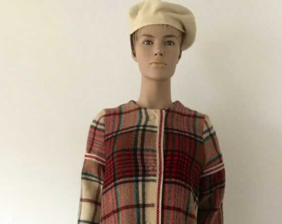 Handmade coat | blanket coat |  jacket | blanketcoat | wool | plaid | checkered |  fringles | size M