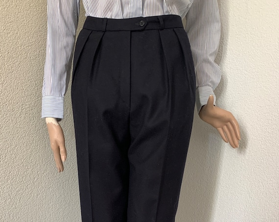 Vintage dark blue pants | St. Emile | by Leeser | trousers | wool | slacks | high waist | small