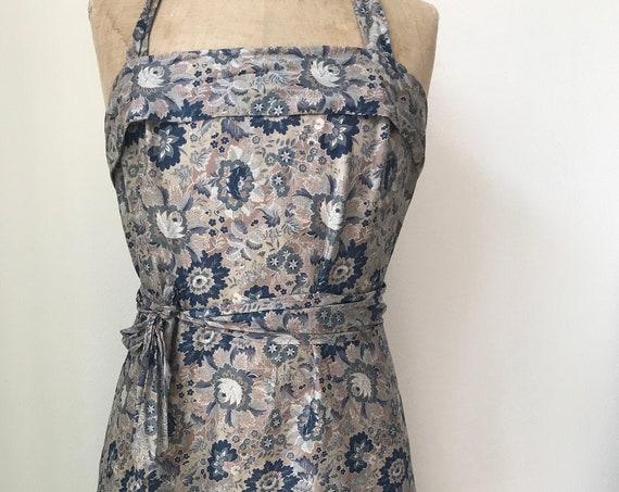 Vintage wrap dress | cotton dress | summer dress | halter dress | nineties | blue gray nude | flower dress | medium size