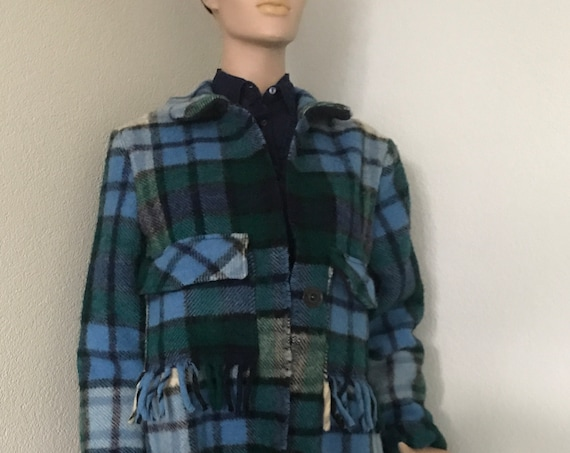 Handmade blanket coat |  Handmade wool coat | Tartan coat | Handmade coat | jacket | reuse | sustainable fashion | green fashion | size M