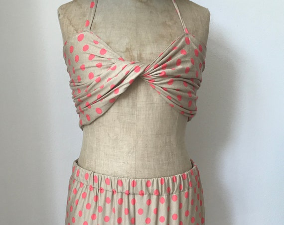Handmade skirt  | Summer outfit | Polkadot skirt | Beach set | Skirt with bra | Skirt with top | Handmade outfit