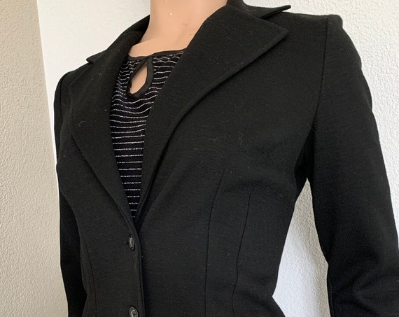 Vintage Wahls colbert | black jacket | blazer | tricot | French | sturdy jersey | Made in Sweden | Acryl fiber | size Medium