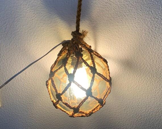 Vintage hanging lamp | glass ball | macramé net | rope net | green glass ball | seventies