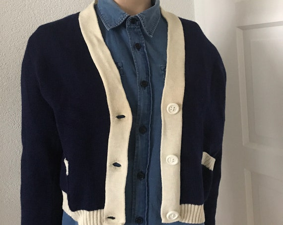 Vintage cardigan | wool jersey | Darkblue with offwhite | Swiss made | Knitted short jersey | Made in Switzerland | Small size