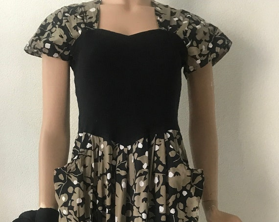 Vintage dress | Donnaluna | summer dress | cotton | flowers | Italian design | black khaki | sizeu EUR 38