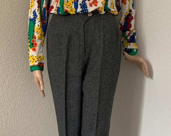 Vintage gray pants | eighties trousers | wool blend | acrilan | slacks | high waist | small