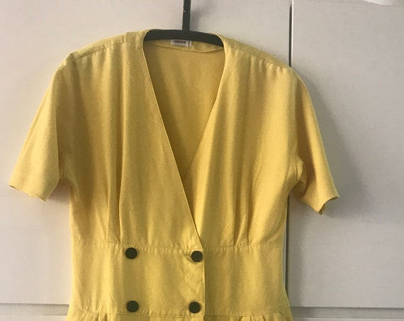 Vintage yellow dress | Rodier dress  | French dress | Vintage dress | Eighties dress | wool