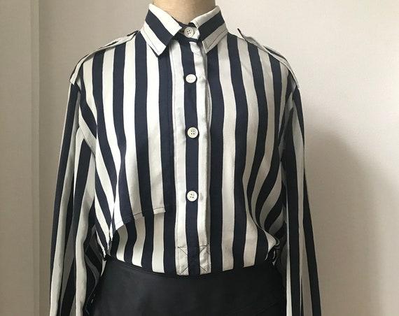 Vintage blouse   Leeser   silk   striped   top   blue   crème   top   shirt   nineties