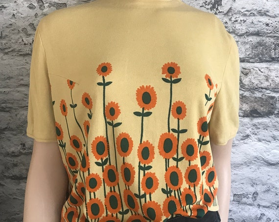 Vintage sunflowers shirt | Flower top | Glaser Austria | Spring | Unusual tricot | fifties | tee | t-shirt | size M L