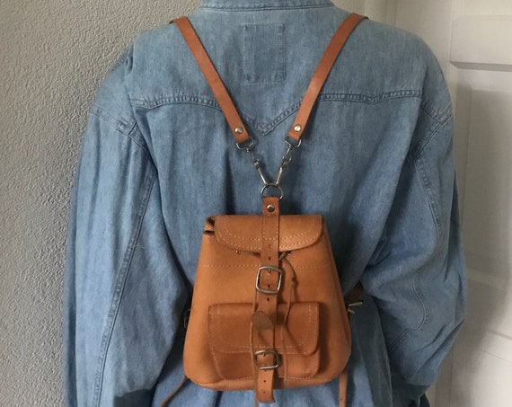 Vintage backpack | small backpack | leather little bag | brown leather bag | leather backpack | festival bag