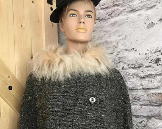 Vintage wool jacket | fur collar | fur cuffs | handmade | Italian design | Laneria Tiziano | fifties coat |