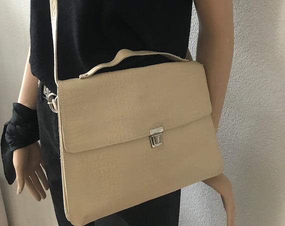 Vintage shoulder bag | offwhite leather | book bag | laptop bag | crossover | business bag | schoolbag | long strap | snake print