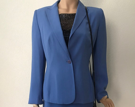El Corte Ingles suit | lavender blue | skirt and jacket | laser cut out |