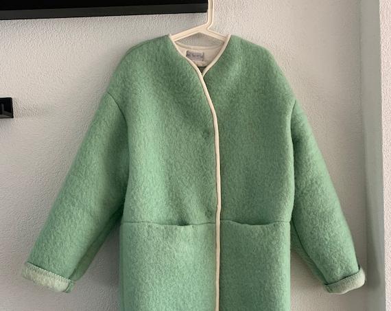 Handmade coat   hand tailored blanket coat   jacket   wool   pastel green   blanket   Dutch blanket  