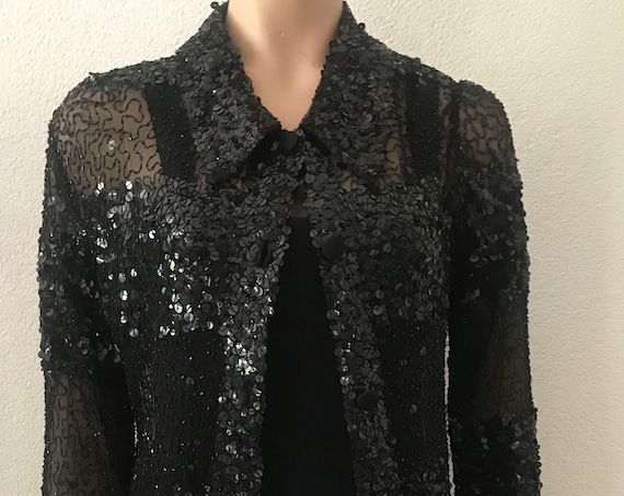 Vintage sequins top | black sequins | shirt | blouse | Jean Paul Robert | Amsterdam | party outfit | colbert | jasje | Medium size