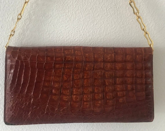 Vintage Esteve shoulder bag | alligator patent| leather | rust brown | clutch | purse | made in Spain | orange red