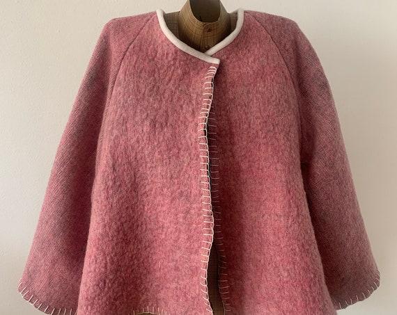 Hand tailored blanket coat | clocking blanket coat | pink | solid | reworked blanket | handmade | wool | one size