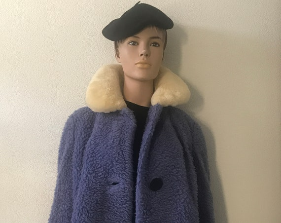 Vintage teddy coat | Fluffy jacket | fake fur collar | sky blue | azure | rare coat | teddy bear coat S / M