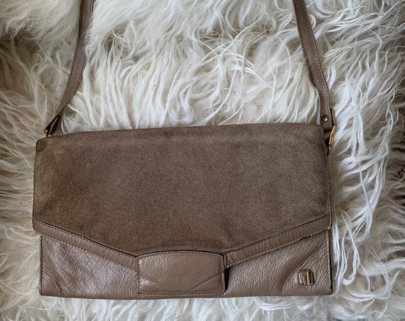 Ted Lapidus  | vintage handbag | khaki | suède with leather | designer bag | shoulderbag | clutch | French designer